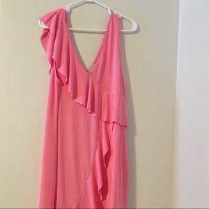 Hot pink Asymmetrical ruffle midi dress / Zara